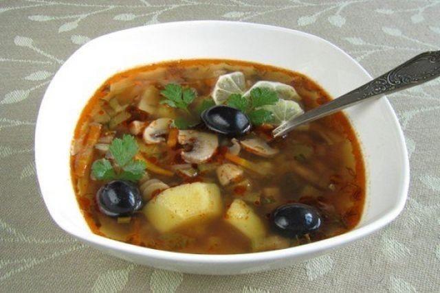 Суп солянка с грибами рецепт с пошагово